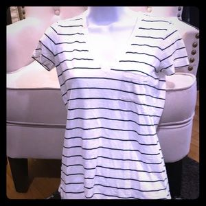 Madewell T-Shirt XXS White and Blue Striped